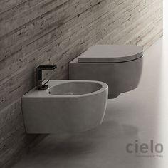 Wall hung wc 53 Stone finish Smile - Water closet colored bathroom Ceramica Cielo