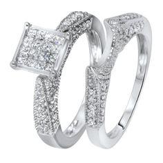 1 CT. T.W. Diamond Women's Bridal Wedding Ring Set 10K White Gold - Free Gift Box - List price: $2,399.99 Price: $939.99 Saving: $1,460.00 (61%)