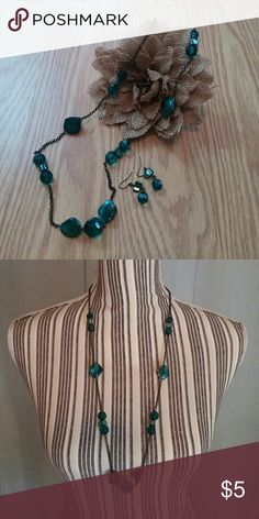 Necklace & Earring Set Dark teal/made necklace & earring set. Cato Jewelry