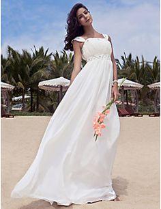 Lanting+Bride®+Åtsmitande+Plusstorlekar+Petite+Brudklänning+-+Klassisk+och+tidlös+Glamorös+och+dramatisk+Mottagning+Golvlång+Rund+Chiffong+–+SEK+Kr.+2,948