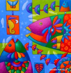 Solve In the Ocean - small jigsaw puzzle online with 169 pieces Fabric Fish, Wal Art, Tropical Art, Fish Design, Arte Popular, Colorful Fish, Naive Art, Fish Art, Silk Painting