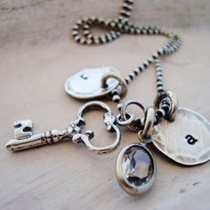 rustic hand stamped initial charm necklace ... personalized sterling silver key to my heart necklace... shabby chic jewelry.... $66.00, via Etsy.