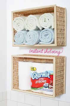 Linen Storage - Baskets-turned-shelving are a simple alternative if you don't have a linen closet. Plus, you can customize them to fit any space.