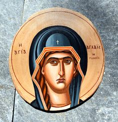 Handpainted icon on chestnut wood 20 cm Byzantine Icons, Roman, Mona Lisa, Saints, Hand Painted, Canvas, Wood, Artwork, Movie Posters