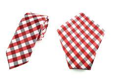 Mens 6cm Red Black White Ghingham Skinny Tie Pocket Square.