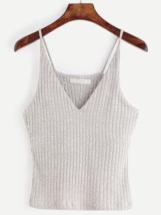 Grey Marled Knit Ribbed Cami Top — 0.00 € -----------------------color: Grey size: one-size