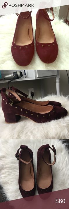 Madewell maroon suede shoes Never before worn sold out maroon shoes with about a  1.5 inch heel. Adorable brass spots along edge. Strap around ankle. Adorable shoes!!! Madewell Shoes