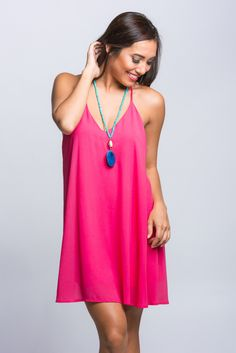 Fuchsia Solid T Back Dress | Stella Rae's