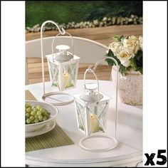 10 New White Small Wedding/ Event Centerpieces Candle Holder Lanterns Decor #HomeLocomotion