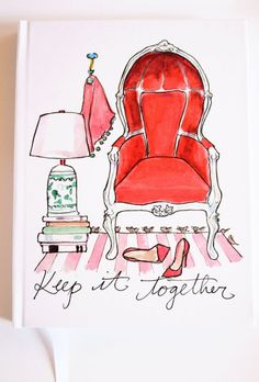 Illustrated Journal / Notebook: Keep It Together! {Illustrated Notebook, Fashion Notebook, Preppy Notebook, Hardcover Journal}