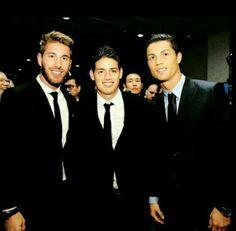 Sergio Ramos, James Rodriguez and Cristiano Ronaldo