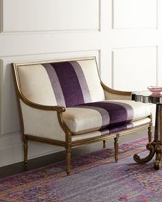 Shop Lilah Violet Colorblock Settee from Massoud at Horchow, where you'll find new lower shipping on hundreds of home furnishings and gifts. European Furniture, Italian Furniture, Luxury Furniture, Purple Furniture, Living Room Furniture, Home Furniture, Furniture Design, Rustic Furniture, Furniture Vintage