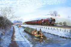 """""""Barry Freeman painting of 46229 Duchess of Hamilton at Stretton-Under - Fosse heading south with up Caledonian."""