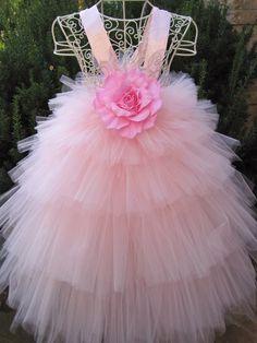 Tutu vestido, rosa flor, niveles de 5, niños 3-6, OOAK, blusa, bodas, fiestas, magníficos regalos, Foto del estiramiento dispara, vestido de la semana Santa.