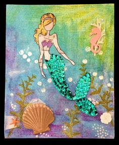 Julie Nutting Mermaid Stamp for 2014. Painted canvas background with acrylics, stencils and Viva paste.