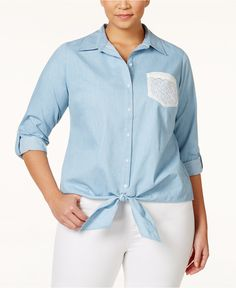 4c4b9429861 NY Collection Plus Size Chambray Crochet-Pocket Tie-Front Shirt   Reviews -  Tops - Plus Sizes - Macy s