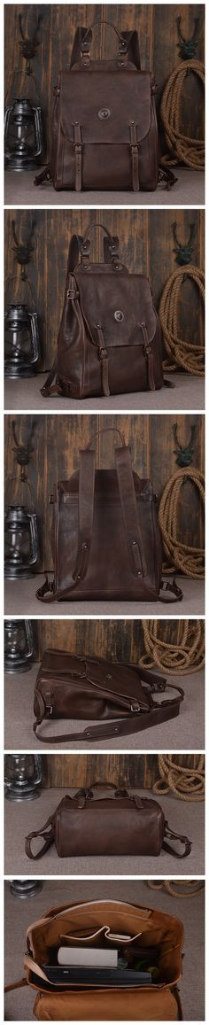 "Leather Backpack Laptop Backpack Laptop Bags 9081 Model Number: 9081 Dimensions: 15.3""L x 5.5""W x 13""H / 39cm(L) x 14cm(W) x 33cm(H) Weight: 3.5lb / 1.6kg Hardware: Brass Hardware Color: Dark Brown /"