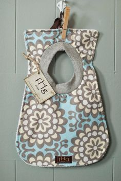 Baby Bib Amy Butler Wallflower in Blue by fHgdesign on Etsy, $12.00
