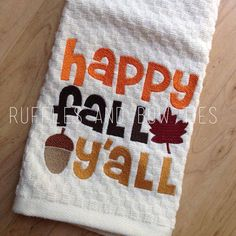 Fall embroidered kitchen towels ... Ruffles and Bow Ties on Etsy, $10.00 @Jenny Robinson this is so you!!!