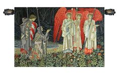 """Holy Grail """"the Vision"""" Left Panel, European Wall Tapestry"""