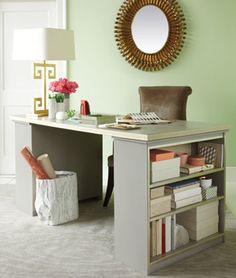 Decorating Ideas | NancyCreative HOME OFFICE IDEAS: I liked this Bookcase Desk, which is really great if you have limited space for your home office. A door laid over the bookcases makes a great desktop, and if you want to protect the surface you can cover the door with a large piece of glass or clear acrylic cut to size.
