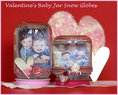 Recycle baby food jars, and make others smile with pictures of the little one.  Good for all holidays (or non-holidays!)