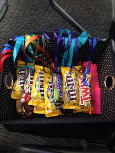 Candy medals with colored ribbon