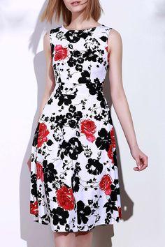 Round Neck Sleeveless Floral Print Women's Dress