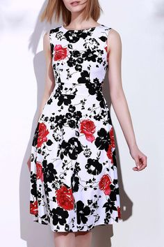 Round Neck Sleeveless Floral Print Women's Dress