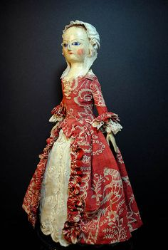 Clementine 12.75 inches tall. very authentic. Later in the period probably 1790's. I even made her blue enameled eyes.