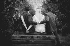 LOVE this shot of the bride and groom with the maid of honor and best man!!    See more of  Megan & Brian's Country Barn Wedding Photos | http://www.weddingfavorsunlimited.com/bridal_blog/2015/06/03/megan-brians-country-barn-wedding/