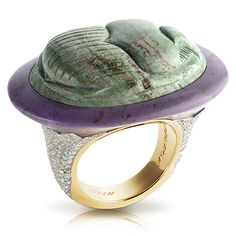 This amazing unique piece is made of 18 carat gold and and huge Jasper set in 256 white diamonds (total of 1.10 carats).  The ring is part of the Amuletic Series and depicts a scarab beetle (carved in Jasper) as the universal symbol of protection.