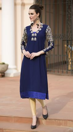 Pretty Sleeves Embroidered Blue Pure Viscose Georgette Designer Kurti