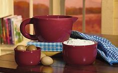 3 Red Country Ceramic Nested Mixing Bowls