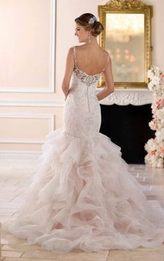 6402 Sexy Silver Lace Beaded Trumpet Dress by Stella York