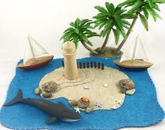 Caribbean Island Playscape Play Mat felt imagination storytelling storybook fairytale fantasy mermaid ocean sea pirate beach pretend play