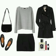 Trench coat, striped blouse, strait black skirt, flats, simple bag