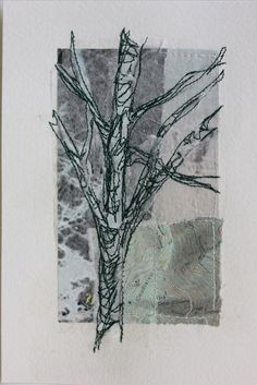 Mote Park Tree 5 £30 on 7x5 Collage and stitch(16x12cm watercolour paper)