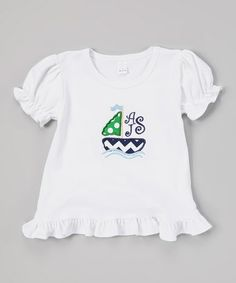 Loving this White Sailboat Monogram Ruffle Top - Infant, Toddler & Girls on #zulily! #zulilyfinds