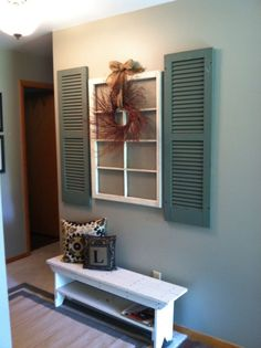 Simple decor for an entry way - Simple decor for an entry way The Effective Pictures We Offer You About wide shutters repurposed A - Country Decor, Farmhouse Decor, Rustic Decor, Farmhouse Design, Modern Farmhouse, Farmhouse Style, Farmhouse Shutters, Shutter Decor, Shutter Shelf