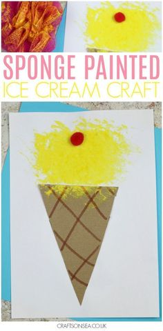 We love summer crafts for kids and this fun sponge printed ice cream craft is bound to become a new favourite! Have fun choosing your favourite colours and decorations with this easy painting activity for kids that's suitable for toddlers, preschoolers or Summer Crafts For Toddlers, Summer Arts And Crafts, Art Activities For Toddlers, Easy Toddler Crafts, Summer Art Projects, Arts And Crafts For Teens, Toddler Art Projects, Easy Arts And Crafts, Preschool Summer Crafts