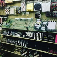 """""""Hobby Lobby has new stationary and office supplies! Black white and Gold…"""