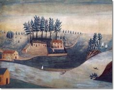 Unknown American Artist - American Folk Art Painting Landscape by Unknown Artist - The Mill 1830 - 11 x 14 Approximate Original Size in Inches Painting