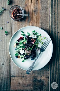 Beetroot salad with blusberries and fresh herbs. Photography and Styling by Homecooking dept. / Marianne Snel. Recipe on the blog in Dutch.