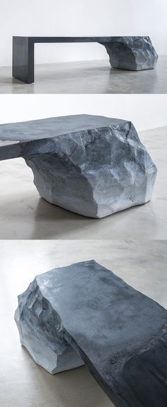 Sturdy Bench Composed of Sand and Cement Blurs the Line Between Furniture and Sculpture Fernando Mastrangelo transforms sand and cement into an artistic centerpiece that lies somewhere between sculpture and functioning bench. Concrete Furniture, Concrete Art, Pallet Furniture, Furniture Decor, Modern Furniture, Furniture Design, Concrete Bench, Furniture Logo, Street Furniture