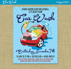 car wash flyer fundraiser church school community sports team booster club poster invitation event ticket car washing water by sfmprintables on etsy