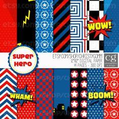 Bonus Included  Super Hero Printable Digital Paper by christygomm, $5.00