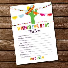 baby shower wishes for baby card mexican fiesta baby shower party game