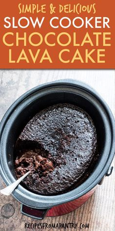 Crockpot Lava Cake is the ultimate chocolate dessert! You'll love how easy it is to make Crockpot Chocolate Lava Cake that is gooey, decadent, and so delicious. This chocolate lava cake recipe comes together quickly and simply with a handful of basic ingredients like Betty Crocker cake mix, instant pudding mix, and chocolate chips. Click through to get this Crock pot lava cake recipe!! #lavacake #chocolatelavacake #crockpotcake #crockpotrecipes #slowcookercake #slowcookerrecipes #dessert Chocolate Lava Cake Crockpot, Lava Cake Recipe Crock Pot, Crockpot Cake Recipes, Chocolate Cake Mix Recipes, Chocolate Pudding Cake, Lava Cake Recipes, Crock Pot Desserts, Lava Cakes, Chocolate Chips