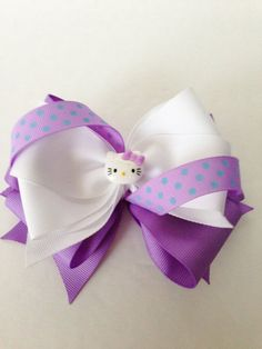 Hello Kitty Inspired Hair Bow/ Purple Hair by JoeysBowBoutique, $5.50